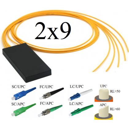 FBT-ОМ Оптический сплиттер 2х9, модель 03, 1310/1550 нм, 7*12,5%/2*6,25%, 900 мкм, 1 метр, коннекторы на выбор