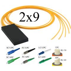 FBT-ОМ Оптический разветвитель 2х9, модель 03, 1310/1550 нм, 7*12,5%/2*6,25%, 3 мм, 1 метр, коннекторы на выбор