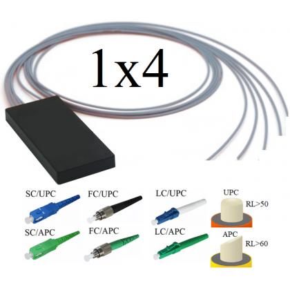 FBT-ММ62 Оптический сплиттер 1х4, модель 03, 850/1300 нм, 4*25%, 3 мм, 1 метр, коннекторы на выбор