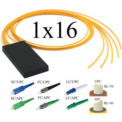 PLC Оптический разветвитель 1х16, модель 03, 1260/1650 нм, 3 мм, 1 метр, LC/UPC