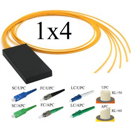 PLC Оптический сплиттер 1х4, модель 03, 1260/1650 нм, 3 мм, 1 метр, коннекторы на выбор