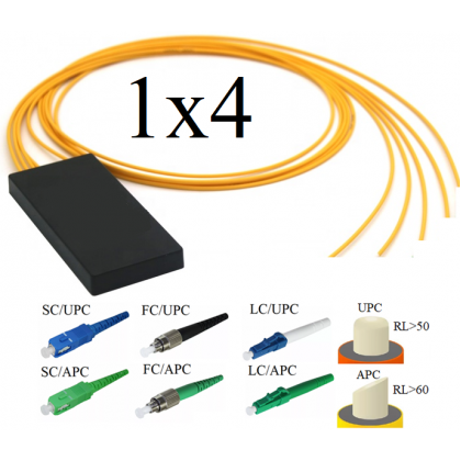 PLC Оптический разветвитель 1х4, модель 03, 1260/1650 нм, 3 мм, 1 метр, SC/UPC