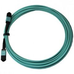 Оптический патчкорд разъём MPO-MPO 5м 12 волокон тип В ОМ-3 аква